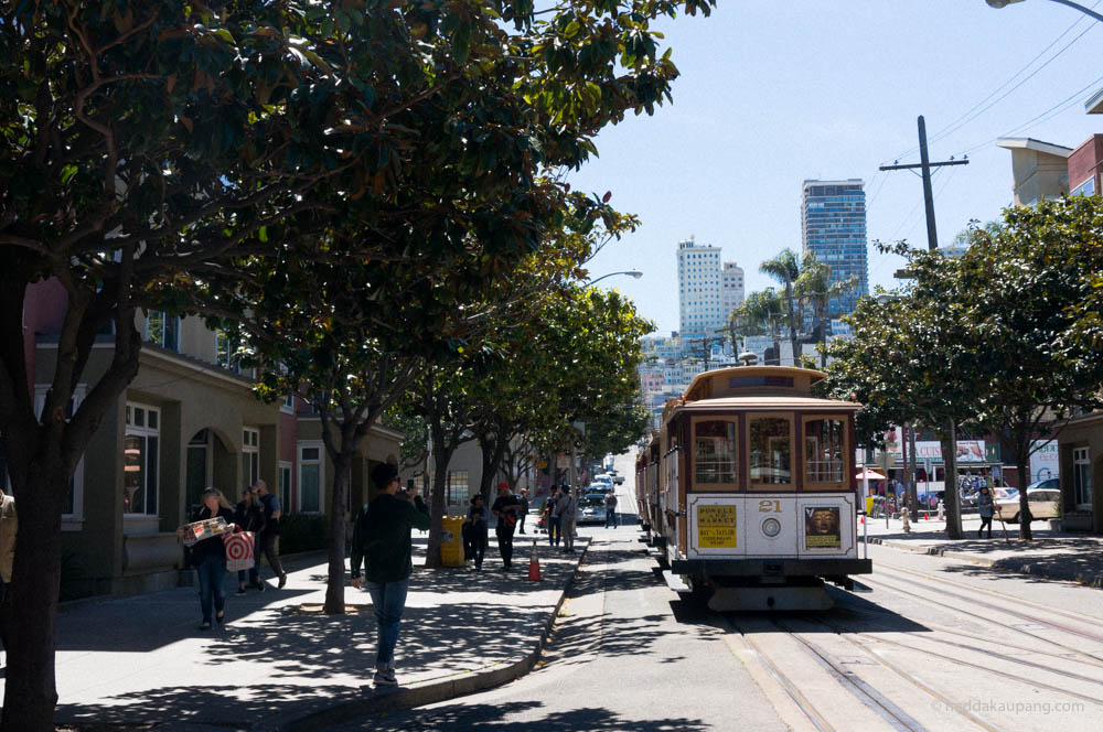 Cable cars in San Francisco.