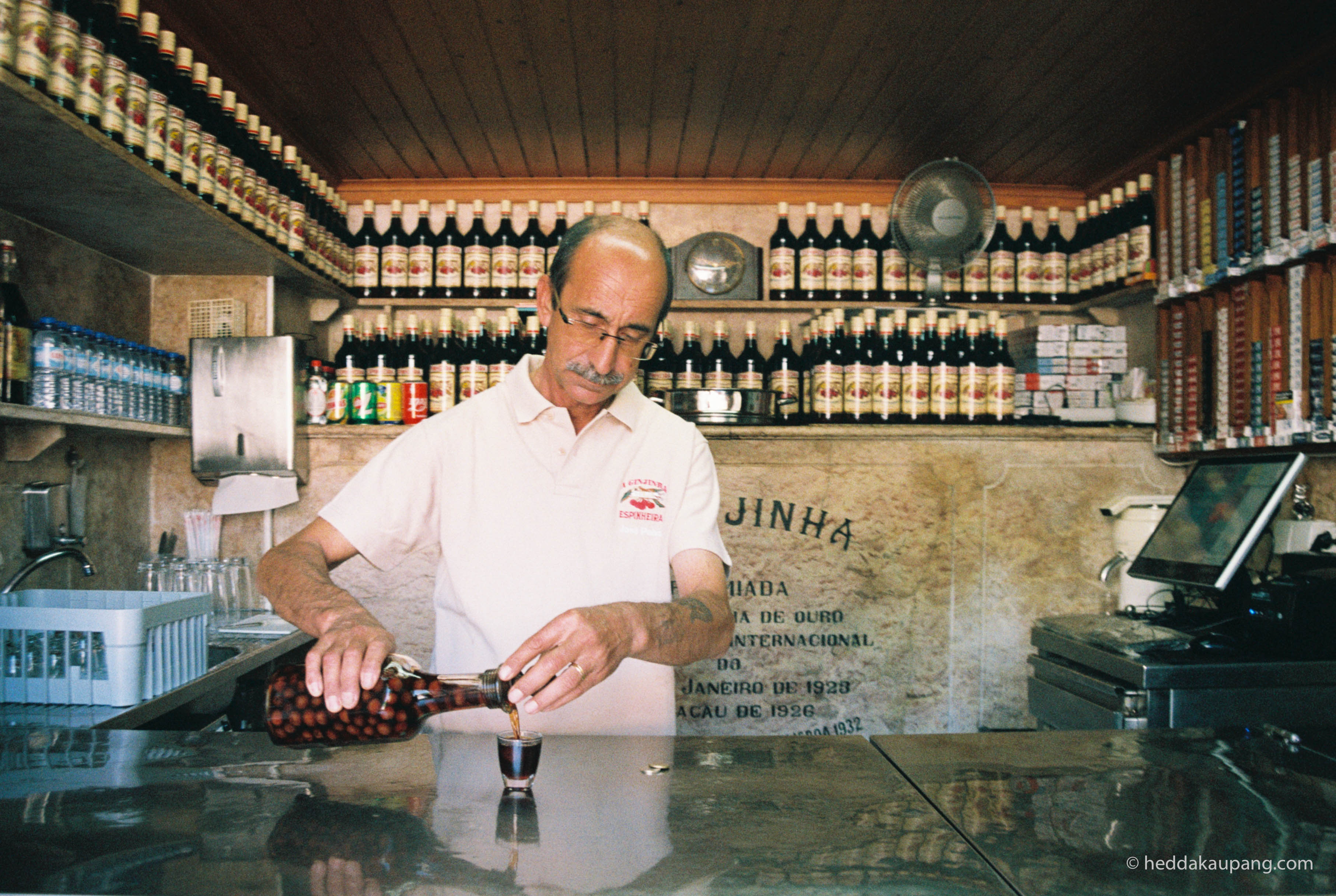 A Ginjinha serves cherry liqueur in Lisbon