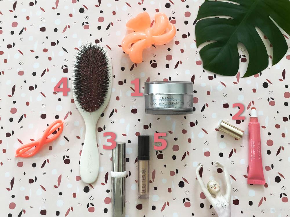 Bilde av skjønnhetsfavoritter fra Clarins, Elixir, Laura Mercier, La Prairie og Mason Pearson.